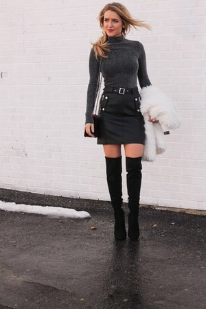 black faux leather Topshop skirt - black suede Guess boots