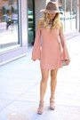 Light-pink-rayon-lovers-friends-dress-light-brown-wool-hat