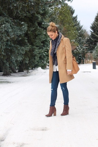 camel wool Topshop coat - brown leather Guess boots