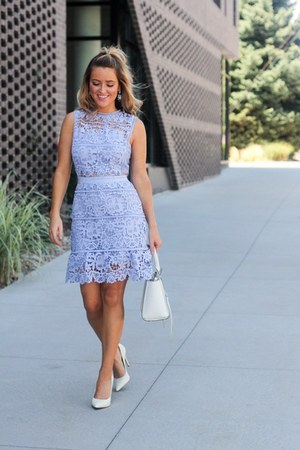 periwinkle lace shein dress - white leather Rebecca Minkoff bag
