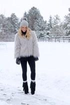 light blue wool style jacket - silver faux fur Chicwish jacket