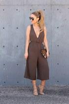 olive green cotton Tobi dress - brown calf hair Clare V bag