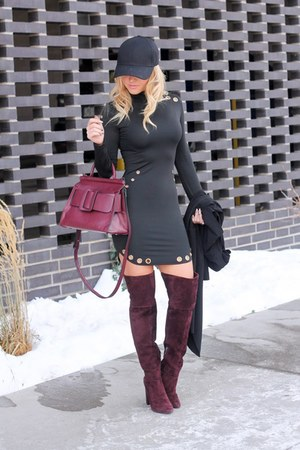 black cotton spandex Sheinside dress - crimson suede Marc Fisher boots