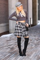 black suede Guess boots - heather gray wool obey hat - black flannel shein skirt