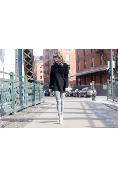 black wool banana republic sweater - heather gray leather sam edelman boots
