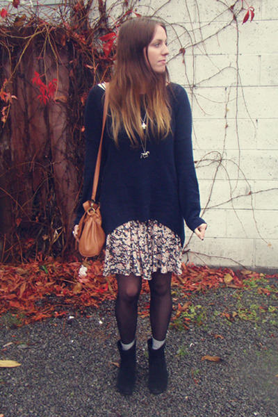 black Country Road boots - bubble gum Glassons dress - tawny Equip bag - navy Tr