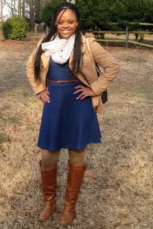 navy denim dress Old Navy dress - bronze rider boots boots - tan coat Gap coat
