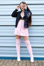 Light-pink-thigh-high-public-desire-boots-black-embroidered-zaful-jacket