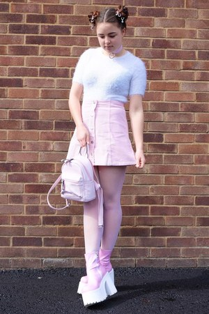 light pink corduroy Boohoo skirt - bubble gum platform Dolls Kill boots