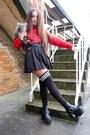 Black-thigh-high-leggsington-socks-red-slogan-rad-sweatshirt
