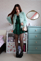 green mermaid Yoins dress - aquamarine faux fur Vila coat