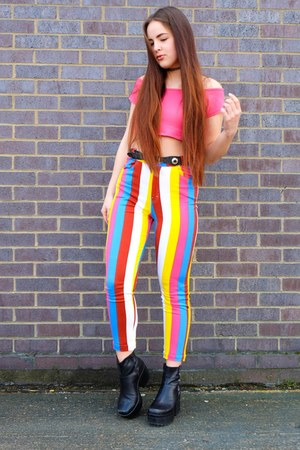 yellow rainbow Motel jeans - black platform vagabond boots