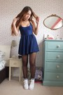 White-chunky-office-shoes-navy-skater-american-apparel-dress