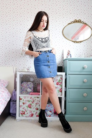blue denim Primark skirt - cream crochet DressLink top