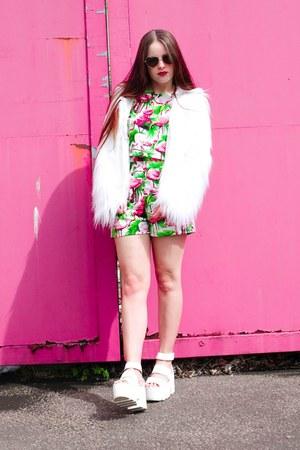 white faux fur Boohoo coat - green flamingo print Tallulahs Threads shorts