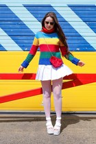 red rainbow House of Bricks sweater - white tennis slazenger skirt