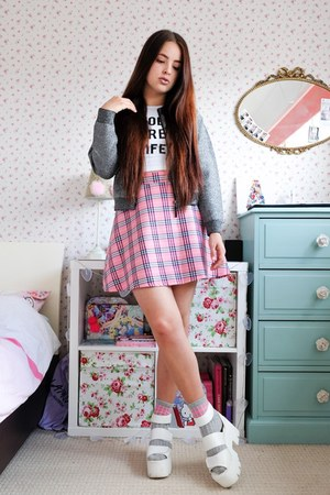 bubble gum tartan Happy Monday skirt - silver lurex Topshop jacket