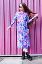black platform Jeffrey Campbell boots - amethyst high split Motel dress