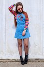 Sky-blue-denim-matalan-dress-hot-pink-rainbow-stripe-depop-jumper