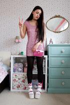 bubble gum sequin Yoins dress - hot pink metallic BangGood bag