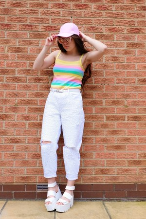 light yellow pastel stripe charity shop top - white sequin Topshop jeans