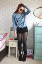 periwinkle follow The orphans arms sweatshirt - black denim Primark shorts