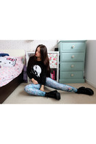 periwinkle hologram Mr Gugu miss go leggings - black grunge The Yub sweatshirt