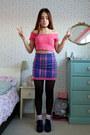 Deep-purple-glitter-topshop-shoes-deep-purple-check-primark-skirt