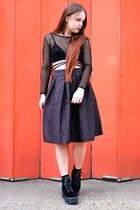 black jacquard Allegra K skirt - black mesh Boohoo top