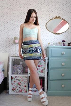 deep purple sequin CelebLook skirt - light blue lace Rebellious Fashion top