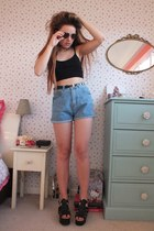 sky blue denim Primark shorts - bronze heart H&M sunglasses
