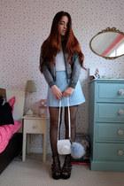 gray lurex glitter Topshop jacket - sky blue pvc Primark skirt
