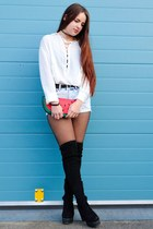 white lace up Sheinside shirt - black thigh high Primark boots