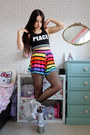 Silver-platform-yru-shoes-rainbow-boohoo-shorts-black-crop-primark-top
