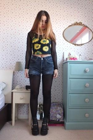 yellow halter Motel Rocks top - black chunky Primark boots