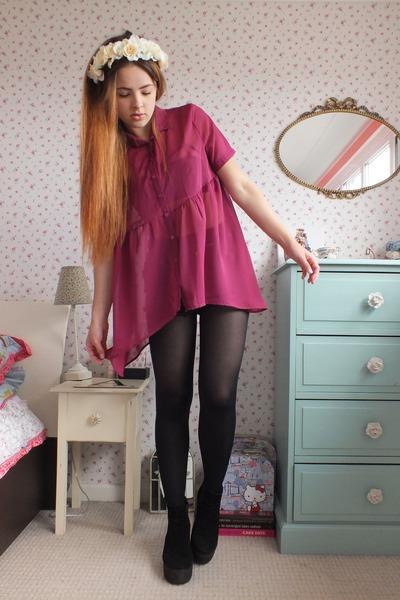 hot pink chiffon Haute Society shirt - black platform Topshop boots