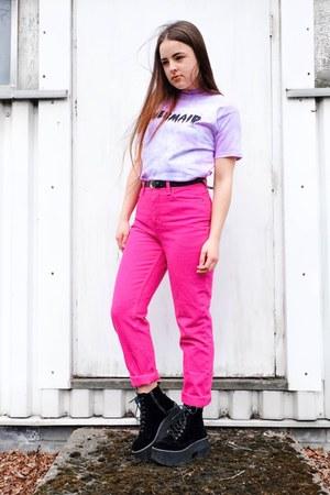 light purple tie dye HEBA top - hot pink mom The Denim Store jeans