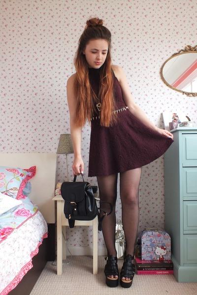 maroon skater Primark dress - black fishnet Pamela Mann tights