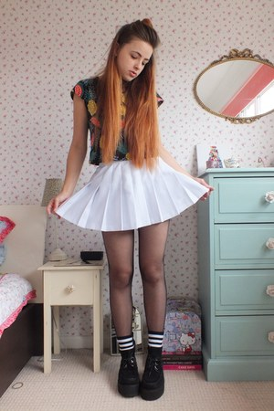 white tennis slazenger skirt - black creeper Underground shoes