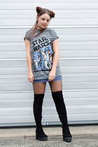 black thigh high Primark boots - heather gray star wars Primark top