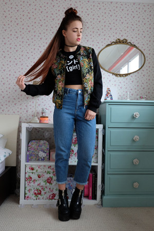black tapestry Style London jacket - blue mom Topshop jeans