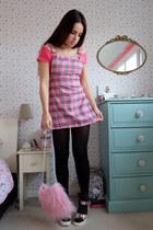 bubble gum tartan pinafore Happy Monday dress - gray glitter new look socks