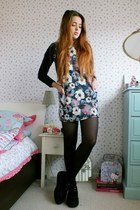 black creepers Underground shoes - pink floral pinafore Lovely wholesale dress