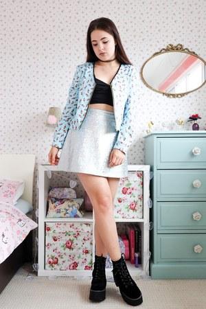 light blue bomber AngelEye London jacket - silver Missguided skirt