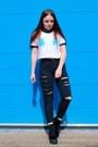 Black-ripped-matalan-jeans-white-cropped-tallulahs-threads-t-shirt