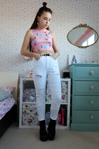 bubble gum disney princess Omighty top - white ripped H&M jeans