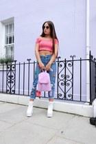 white platform Public desire boots - blue mom Topshop jeans