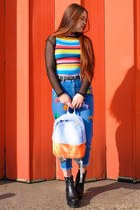 black platform vagabond boots - navy mom Topshop jeans