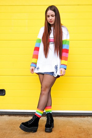rainbow So So Happy sweater - rainbow So So Happy socks