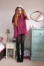 Black-platform-topshop-boots-hot-pink-chiffon-haute-society-shirt